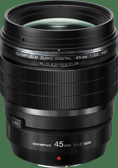 Black Olympus M. Zuiko Digital ED 45mm f1.2 Pro Lens.1