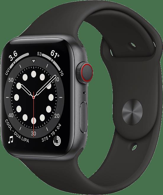 Black Apple Watch Series 6 GPS + Cellular , 44mm Aluminium case, Sport band.1