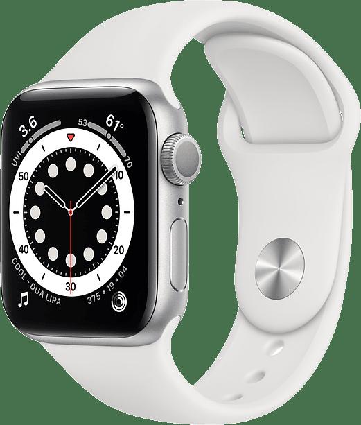 White Apple Watch Series 6 GPS, 44mm Aluminium case, Sport band.1