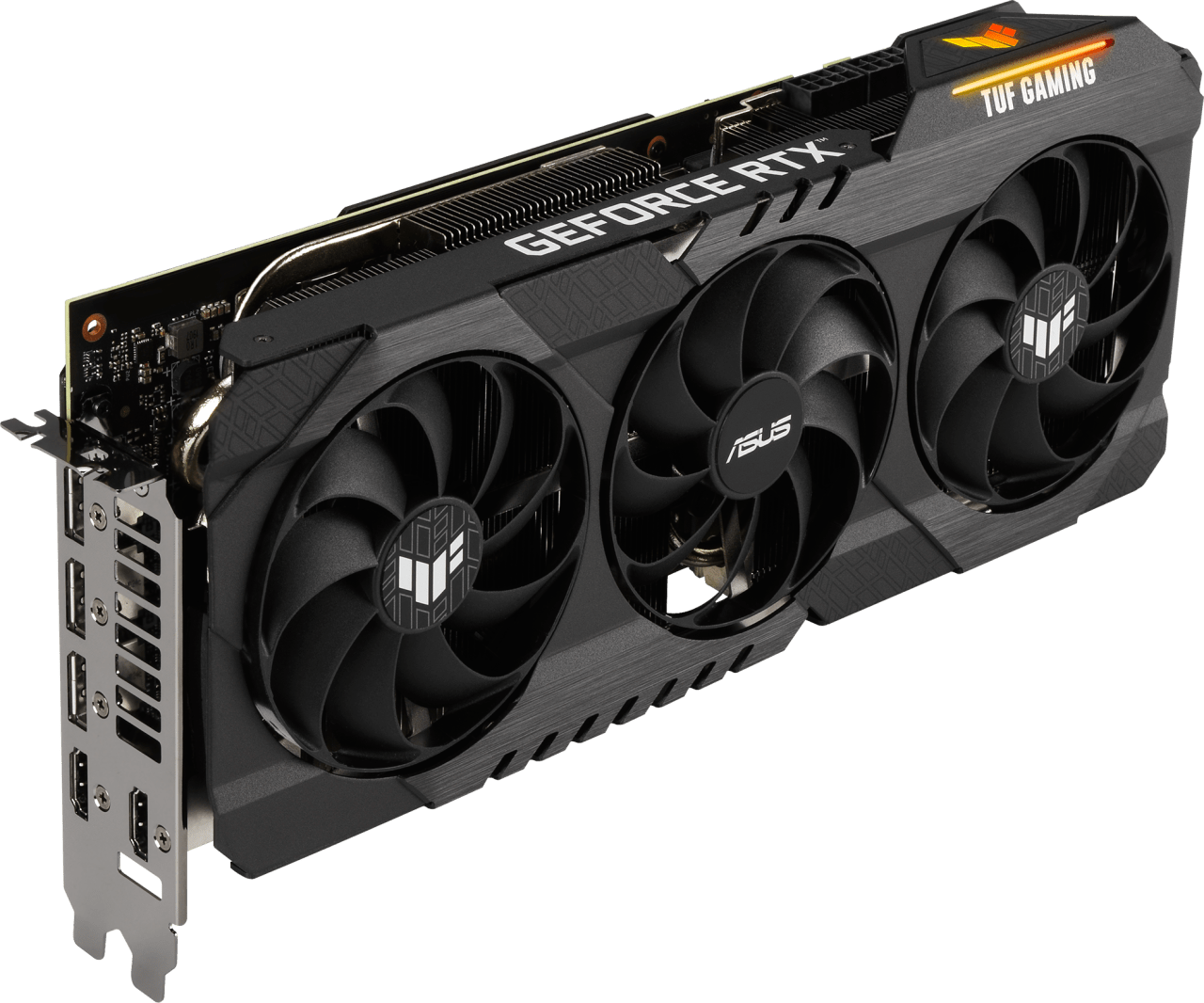 Black ASUS GeForce RTX 3070 Ti TUF O8G LHR Graphics Card.1