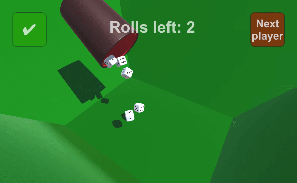 Rolling 3D dice with simulated physics in unity.