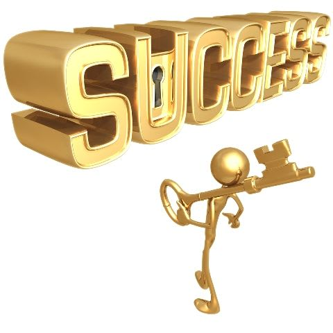 A golden stick figure with a golden key, standing in front of the word success, with a lock in the letter U.