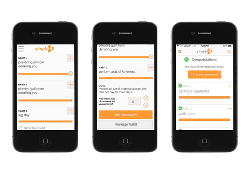 Simplifit Habit tracking screens/flows