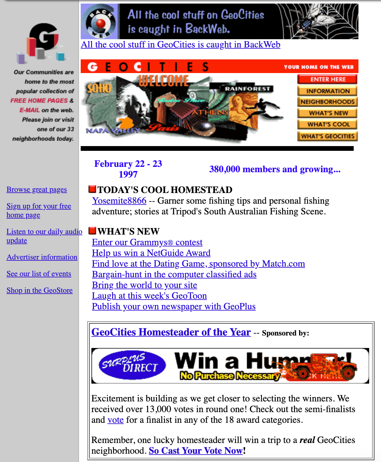 Geocities was an early web based user-generated content community