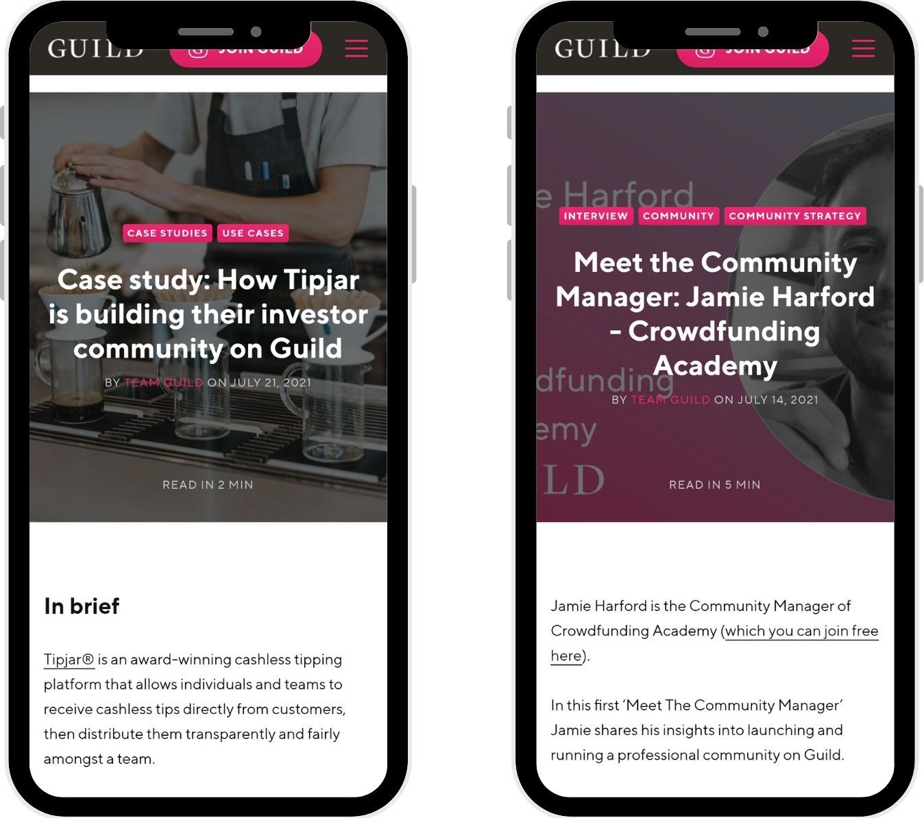 Take part in case studies, Q&As and other content to promote your community