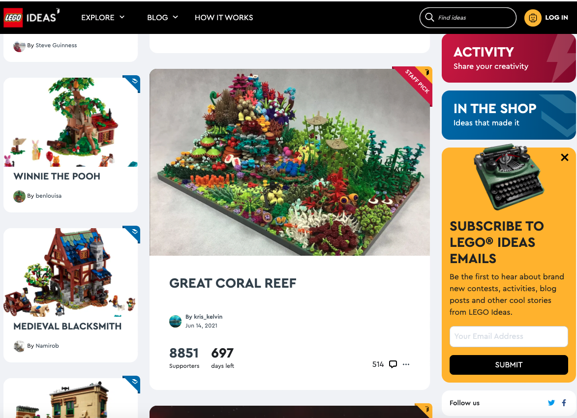 An example of a Community of Play - LEGO's brand-owned innovation community, Lego Ideas