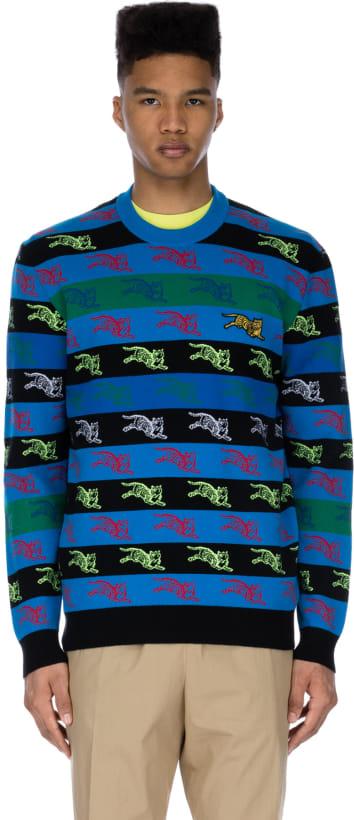 906857b5 Kenzo: Stripe 'Jumper Tiger' Knit Pullover - Multi | influenceu