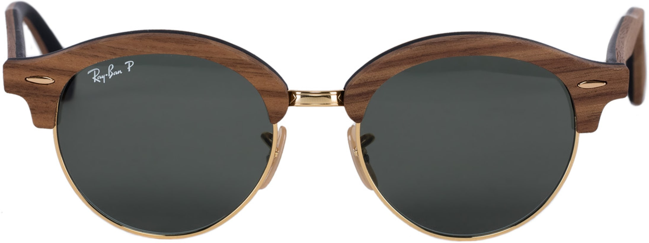 430e93bd4 Ray-Ban: Clubround Wood Sunglasses - Brown/Green Classic G-15 ...