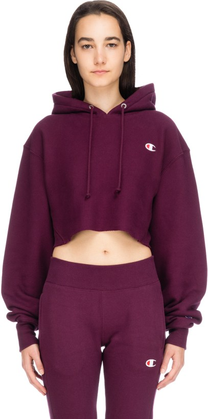 411187c80e97 Champion. Reverse Weave Cropped Cut Off C Logo Hoodie - Dark Berry Purple