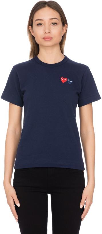 b5879474430a5c Comme des Garçons Play  Double Heart T-Shirt - Navy