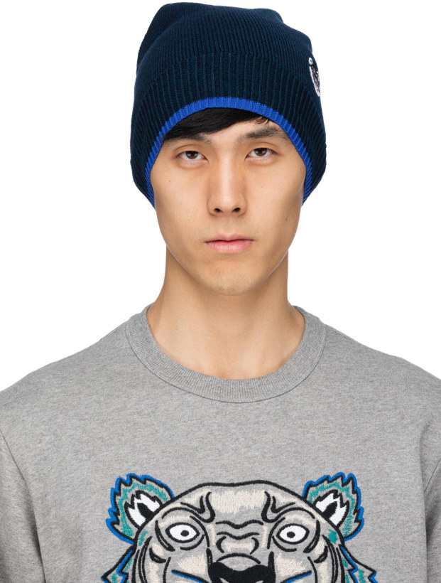 432938eed86 Kenzo  Tiger Patch Beanie - Navy Blue