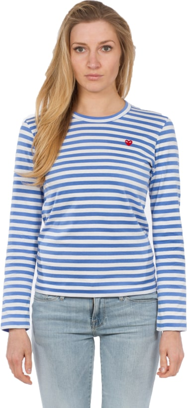 9a95c5b222e0 Comme des Garçons Play. Little Red Heart Striped T-Shirt - Blue/White