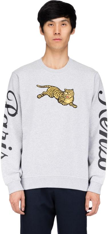 2088519b Kenzo: Jumping Tiger Pullover - Pearl Grey | influenceu