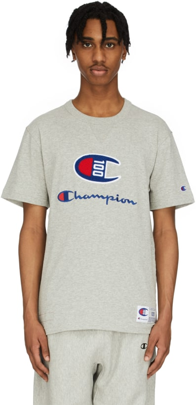 081455905 Champion: C100 Chenille Logo T-Shirt - Oxford Grey | influenceu