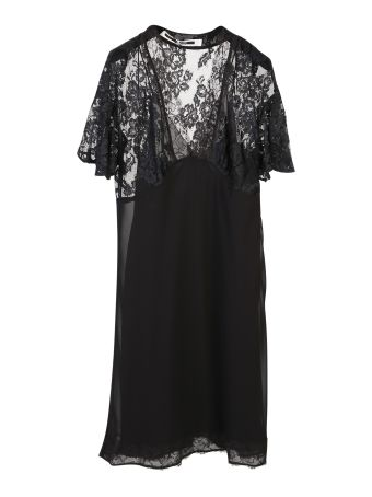 Lace Panel Butterfly Sleeve Dress