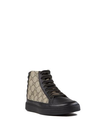 Gucci Gg Supreme & Leather High-top Sneakers