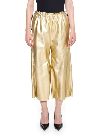 Metallic Faux Leather Trousers