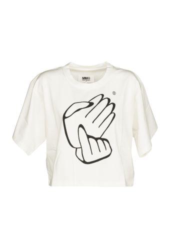 Mm6 Maison Margiela Hand Stamp Cropped T-shirt