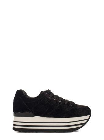 Black Maxi H222 Velvet Wedge Sneakers