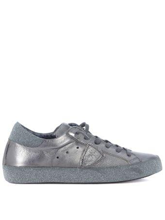 Sneaker Philippe Model Paris In Pelle Metallizzata Argento E Glitter