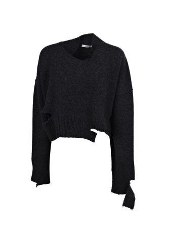Celine V Neck Destroyed Sweater