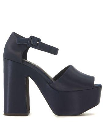 Jeffrey Campbell Candice Dark Blue Satin Sandal