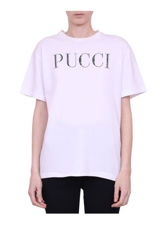 Emilio Pucci Crystals Logo T-shirt
