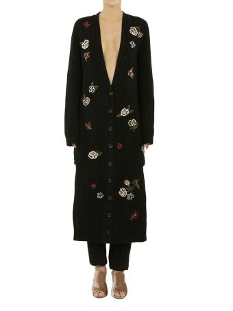 Red Valentino Floral Cable Knit Maxi Cardigan
