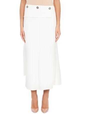 Victoria Beckham Asymmetric Ivory Sil Skirt