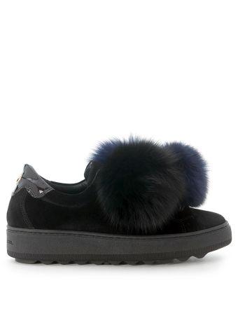 Sneaker Philippe Model Madeleine In Black Velvet With Pom-pom
