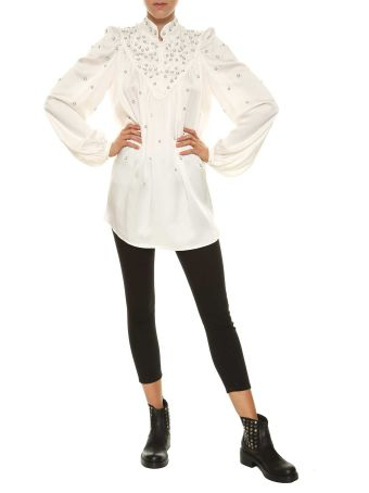 Wandering Satin Blouse With Pearls