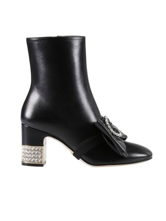 Heeled Booties Charlotte Leather Boots With Rhinestone Heel And Bow