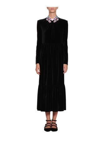 Vivetta Embroidered Collar Velvet Dress