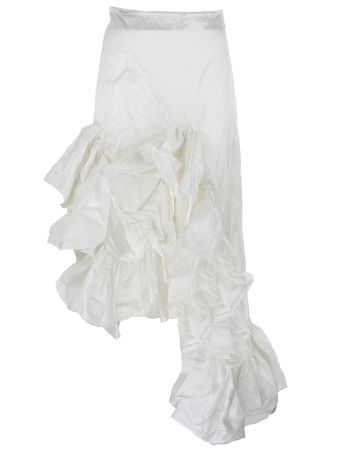 Marques Almeida Crinkled Taffetta Long Melted Frill Skirt