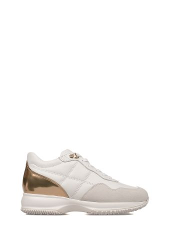 White/gold Interactive Leather Sneakers