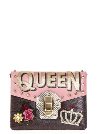 Dolce & Gabbana Lucia Pink Leather Embellished Bag