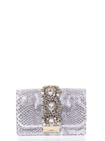 Gedebe Cliky Embellished Silver Python Clutch