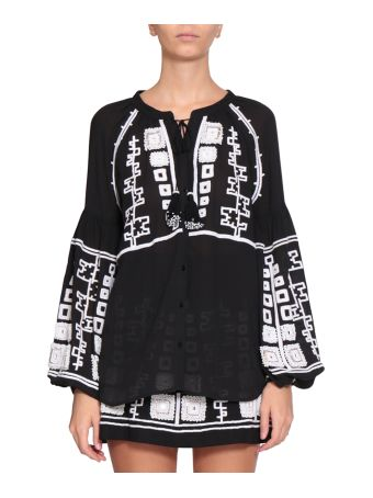 WANDERING Cotton Gauze Embroidered Blouse