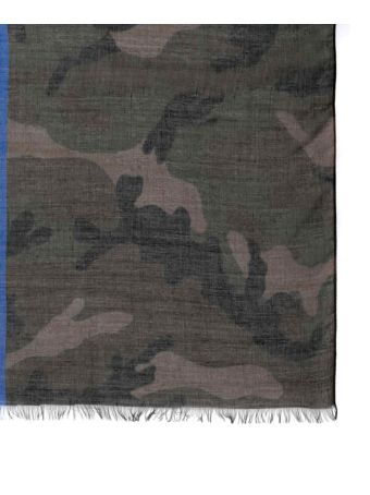 Valentino Cashmere And Silk Camouflage Scarf