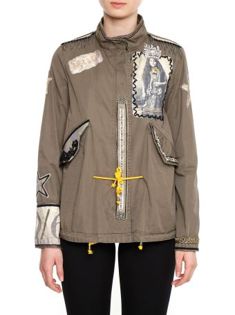 Parka With Rhinestones And Patches
