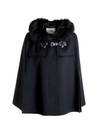 Fendi Fur Trimmed Hood Jacket