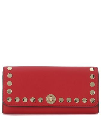 Michael Kors Rivington Red Leather Wallet With Studs