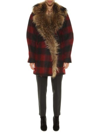 Forte Couture Checked Coat With Fur Collar