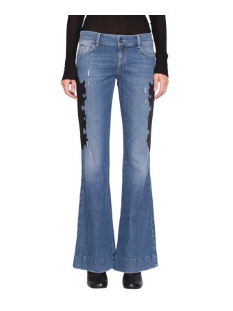 WANDERING Cotton Denim Patched Jeans