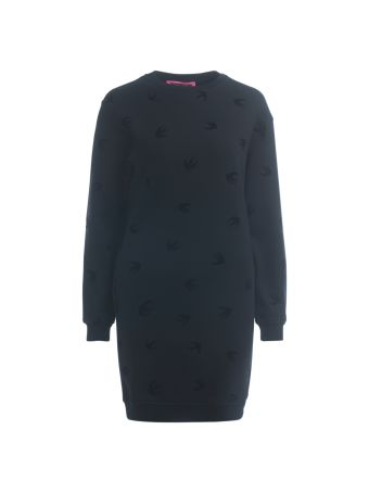 Mcq Alexander Mcqueen Black Fleece Dress With Swallows.