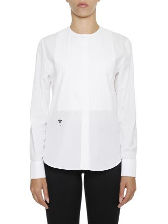 Cotton Shirt With Lace Plastron