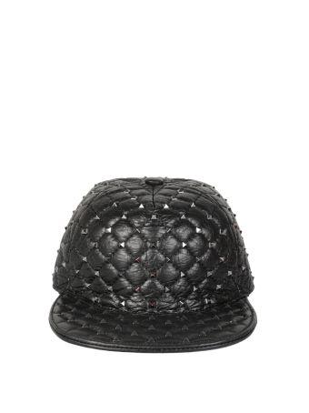Valentino Garavani Spike Quilted Leather Hat