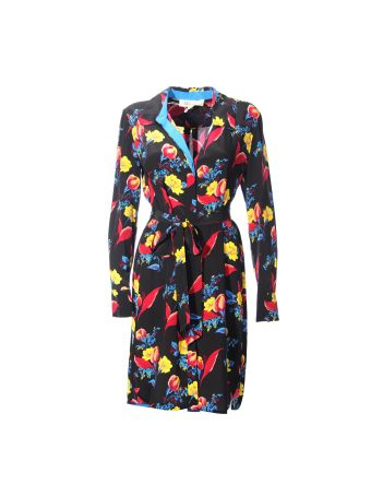 Diane Von Furstenberg Black Floral Multicolor Print Shirt Dress