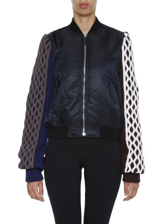 Bomber With Cable Knit Sleeves