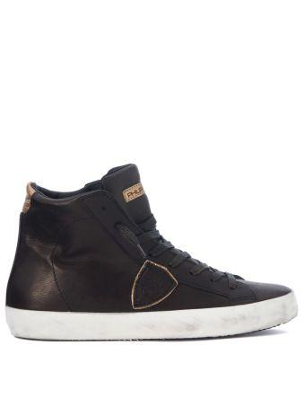 Sneaker Alta Philippe Model Paris In Pelle Bronzo E Oro